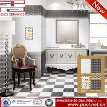 Venta caliente 300x450 porcelana blanco y negro azulejo de la pared del piso para el baño