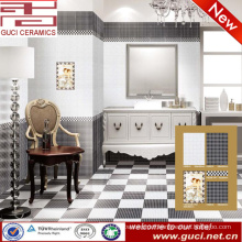 hot sale 300x450 porcelain black and white floor wall tile for bathroom