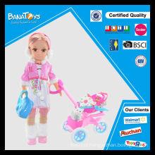 Mais novo 43cm boneca com carrinho de bebê bonecas de brinquedo para a menina