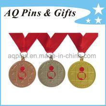 Медаль сплава цинка в различных Плакировкой с красной лентой