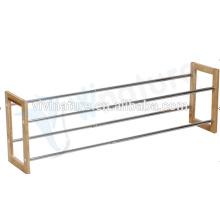 Metal de alta calidad con el bastidor de madera de los zapatos del hogar del marco, estante de los zapatos de madera