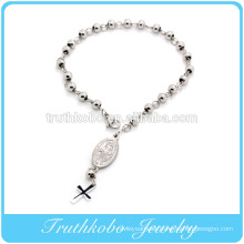 High Quality Shiny Polishing Religious bracelet design Stainless steel 6mm bead rosary bracelet with Jesus in wholesale