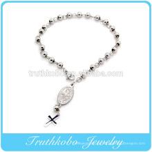 Alta Qualidade Polimento Brilhante pulseira Religiosa design Em aço Inoxidável 6mm talão pulseira rosário com Jesus na venda por atacado