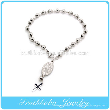 Hochwertiges glänzendes polierendes religiöses Armbandentwurf Edelstahl 6mm Korn Rosenkranzarmband mit Jesus im Großverkauf