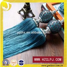 2016 Ручные и машинные синие полиэфирные занавесы Tassel Tiebacks
