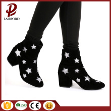 Chunky Black High Heeled Ladies Short Boots
