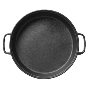 Easy to clean 28cm cast iron round griddle for bbq