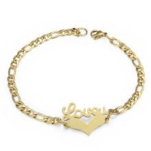 Bracelet de chaîne d'amour de couleur d'or de mode Bracelet de chaîne de coeur de charme