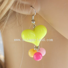 Beautiful Jelly Acrylic Heart and Round Beaded Earring