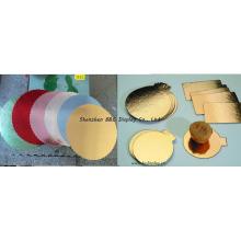 Ondulado com papel da folha de ouro em placas laterais do bolo, bandeja do bolo com SGS (B & C-K065)