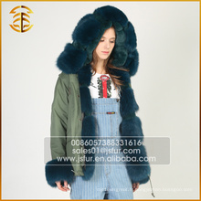 Army Green Best Quality Genuine Fox Casual Fur Parka pour les femmes