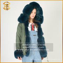 Army Green Лучшее качество Подлинная Fox Casual Fur Parka для женщин