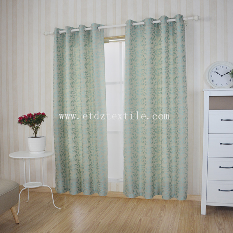 First Class Yarn Dyed Leaf Jacquard Window Curtain WZQ187