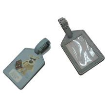 Excellente étiquette de bagage en cuir véritable en PU avec logo imprimé (B1001)