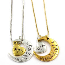 Coração lua em forma de jóias colar de jóias