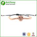 Fashion hommes Bracelets, perles de tête de léopard & 4mm perles rondes argent tressé macramé, tissage Bracelets