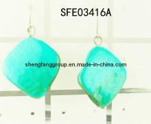 Fashion Jewelry,Square Shell Pendant, Charm Earring Fashion Jewelry (SFE03416A)