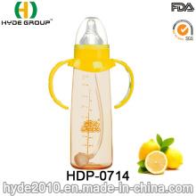 Botella de alimentación plástica del bebé de los PP libre de la venta 260ml BPA, botella de leche plástica modificada para requisitos particulares del bebé (HDP-0714)