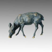 Tier Brass Statue Hirsch Essen Gras Bronze Skulptur Tpal-029