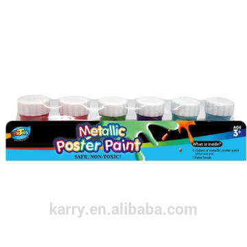 6 Colors Metallic Poster Paint (20ml) for kids' drawing