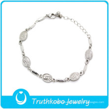 "TKB-B0072 ""Virdin Mary blessing you""christain jewelry Baby Girl wrist Chain silver bracelets for women"