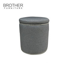 Indian style colorful upholstered cylinder round storage ottoman