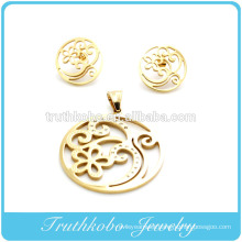 Laser cut round shaped flower patters stainless steel stylish jewelry set fashion jewelry sets jewelry displays sets wholesale