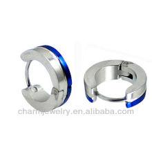 Blue edges Surgical steel Men's Earring Wholesale Men's huggie earrings HE-029