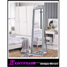 Decorative Wood Frame Floor Mirror, King Size Free Standing Dressing Mirror