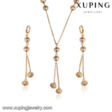 63676 xuping fashion latest gold jewelry design delicate nigerian wedding bead jewelry sets