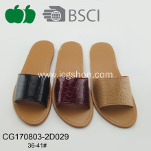 Cheap High Quality Fashional Lady Flat Pu Slippers