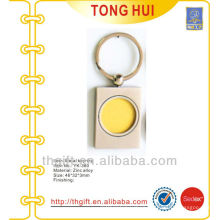 Gold coin square shape blank keychain/keyrings for promotion gifts
