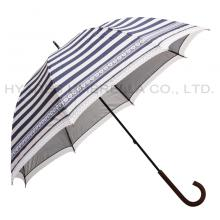Navy Stripe Women Straight Dome Umbrella With Lace