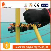 Luvas de trabalho pretas do algodão do dedo sem emenda branco dos pontos do PVC de Nlyon Shell preto Dkp528