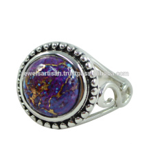 Natürlicher lila Kupfer Türkis Edelstein 925 Solid Silber Ring