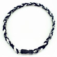 Red Twill, Denim Blue Germanium, Soluble Titanium Braided Necklace