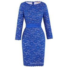 Vestido de partido azul del baile de fin de curso de la tarde de la bola de la longitud de la rodilla del cordón floral de la manga de las mujeres de Kate Kasin 8 Tamaño US 2 ~ 16 KK000218-1
