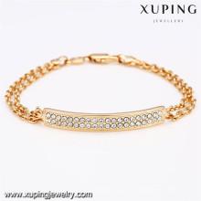72669 xuping nova moda 18k banhado a ouro pulseira de mulheres