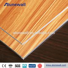 Panel compuesto de aluminio irrompible de la textura de madera de la base alucobond con precio barato