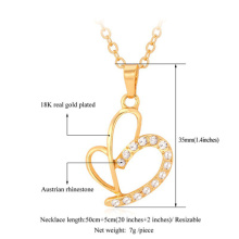 Valentines Gift 2015 Unique Heart Platinum/18K Gold Plated Rhinestone Fashion Jewelry Wholesale Pendant Necklaces For Women