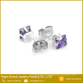 7mm 316L Stainless Steel Purple Shamballa Earrings Cubic Zircon Ear Studs