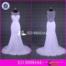 2017 ED Bridal White Chiffon Beach Split Side vestidos de noiva com ver através Beaded trabalho de volta