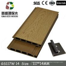 Gswpc anti-uv decorativos hdpe panel de pared de madera para el revestimiento de la pared exterior