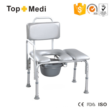 Topmedi Bathroom Safety Equipment Height-Adjustable Aluminum Bath Bench with Commode