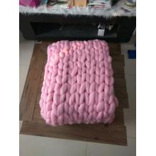 Giant super chunky knit wool blanket