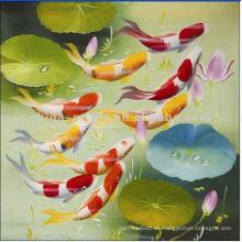 Cuadros de la pintura al óleo de pescados