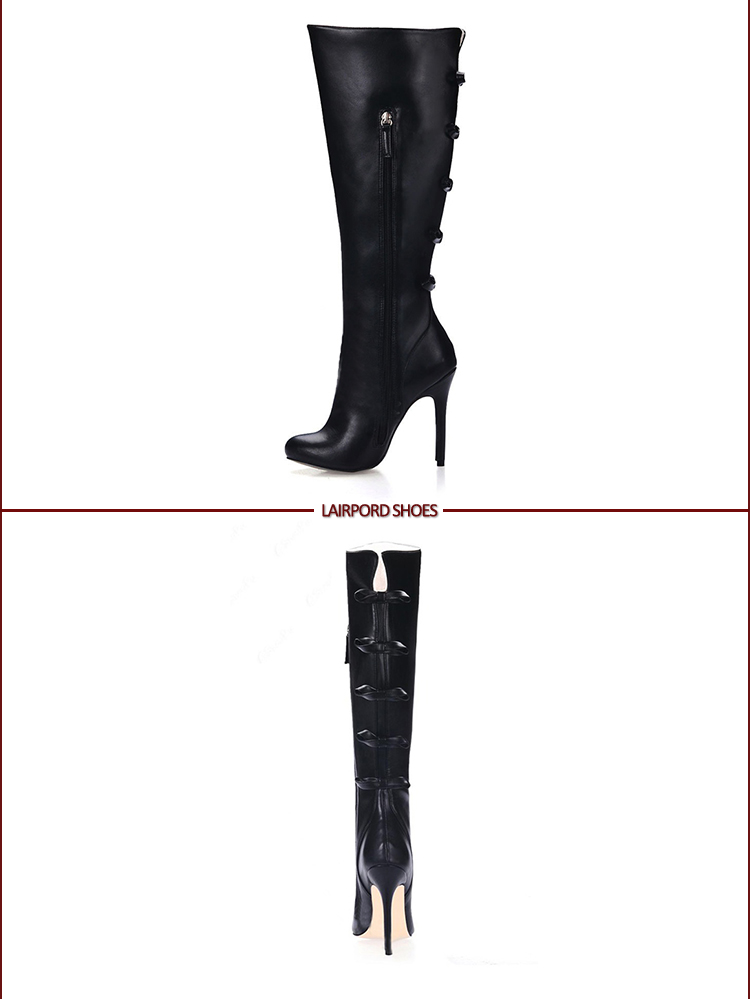 leather winter black mid-calf boots