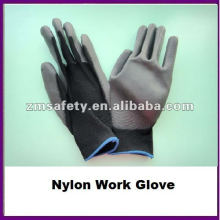 Guantes de trabajo de nylon recubiertos de PU negro protector de mano ZMR421
