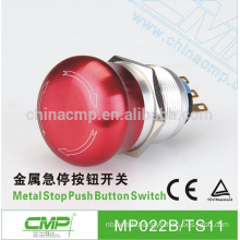 CMP aluminium alloy mushroom emergency stop switch ip67 22mm