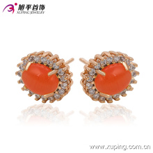 Fashion Elegant Big Red Stone CZ Imitation Jewelry Earring Studs in 18k Gold-Plated 91215